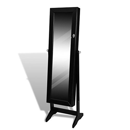 "Black Free Standing Jewelry Cabinet With Mirror,Bathroom Furniture Full-length Rectangle Storage Filing Cabinets With Shelves 1' 6"" x 1' 2"" x 4' 9"""