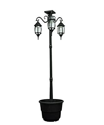 Sun-Ray 312013 Madison 3-Head Solar LED Lamp Post and Planter, 7 ft, Black, Batteries Included