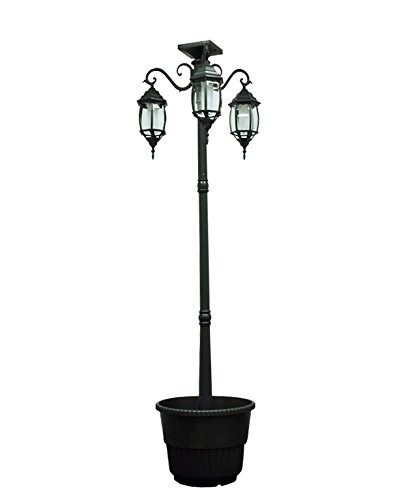 (Sun-Ray 312013 Madison 3-Head Solar LED Lamp Post and Planter, 7 ft, Black, Batteries Included)