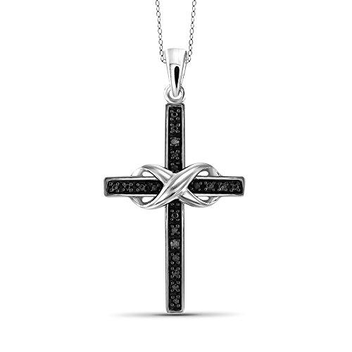 - Jewelexcess Black Diamond Accent Sterling Silver Cross Pendant