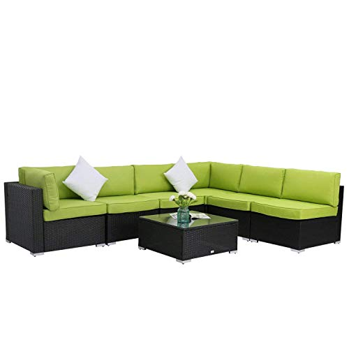 Kinbor 7-Piece Black All-Weather Rattan Wicker Sofa Set Backyard Patio Furniture Cushioned Sectional Sofa Conversation Sets