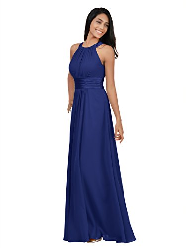 Delivery Bridesmaid Dress - Alicepub Chiffon Bridesmaid Dresses Long for Women Formal Evening Party Prom Gown Halter, Royal Blue, US12