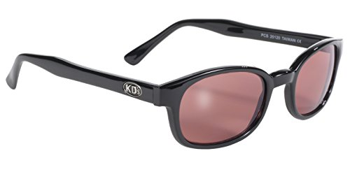 Pacific Coast Original KD's Biker Sunglasses (Black Frame/Rose Colored - Sunglasses Rose Lens