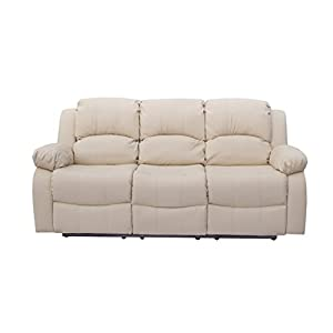Athon Premium Leather Cream 3 Seater Reclining Family Sofa, Armchair, Lounge Couche set