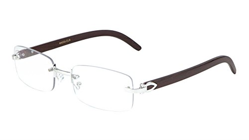 Dapper Rimless Rectangular Metal & Wood Eyeglasses / Clear Lens Sunglasses - Frames (Silver & Dark Brown Wood, - Mens Dapper