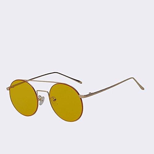 diseñador redondas de para gafas TIANLIANG04 Gold sea Vintage UV400 gafas Amarillo metal de haz sol Hombre gafas W marca en Mujer de w yellow oro Mar espejo Gafas de lentes doble 5HwqHaT