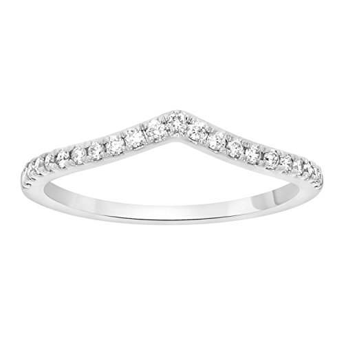 0.15CTTW V-Shape Half Eternity/Anniversary Band Round cut Natural Diamond Ring in 10K Solid White Gold