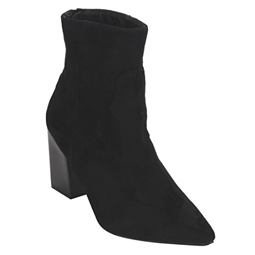 Beston EI53 Womens Back Zip Stacked Heel Ankle Western Booties One Size Small Black