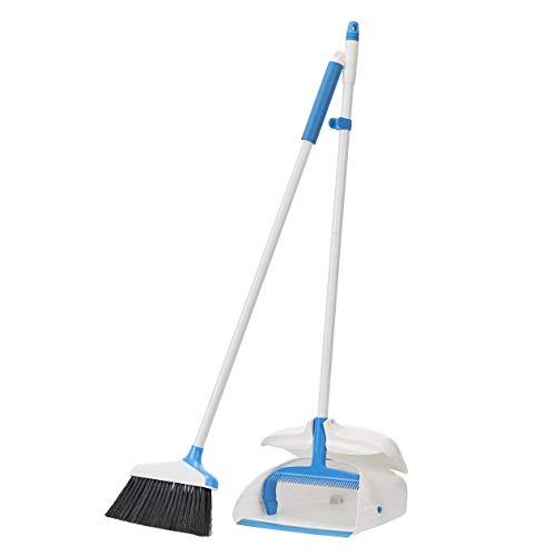 AmazonBasics Broom with Handled Dustpan, Blue&White