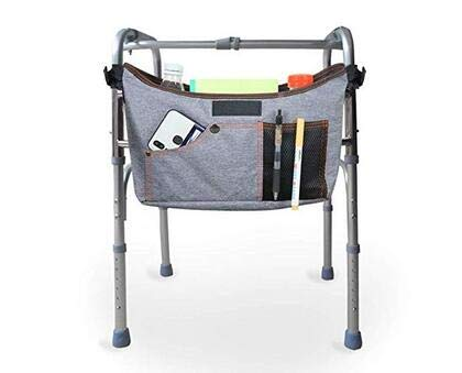 (Fushida Walker Storage Bag,Walker Assistant Pouch, Hands Free Rollator Padded Sling Bag, Tote Attachment Caddy Pouches, Fit Rollator, Scooter, Wheelchair(Gray, FYH253))