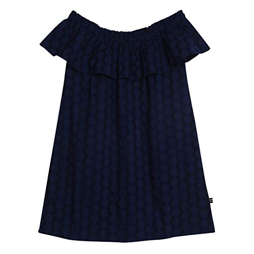 Nautica Big Girls' Patterned Sleeveless Dress, Eyelet Navy, -