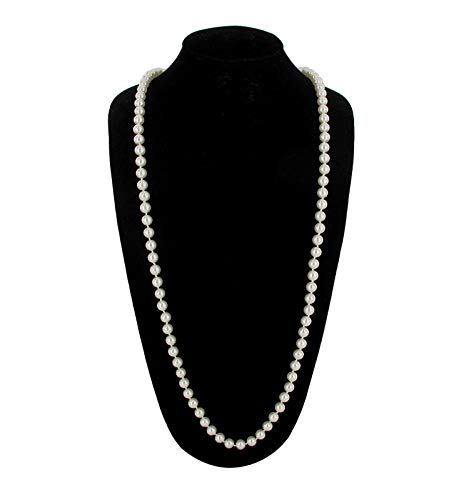 - Necklace White Glass 8MM Faux Pearl Bead 48