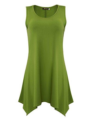 Yidarton Damen Sommerkleid Ärmelloses Asymmetrisch Tank Kleid Beiläufiges  Strandkleid Ausgestelltes Trägerkleid Knielang Grün uFMbflUZx 3dec8632c1