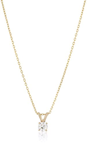 "14k Yellow Gold Round-Cut Diamond Solitaire Pendant Necklace (1/3cttw, K-L Color, I1-I2 Clarity), 18"""