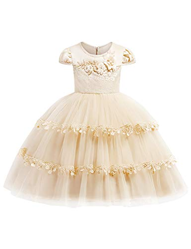 - JOYMOM Tulle Dress for Girls, Toddlers Round Collar Cap Sleeve Mesh Waist Tight Multi-Layer Knee Length Back Hidden Zip Corsage Curved Hem Ceremony Party Dresses Champaigne 130 (5-6Years)