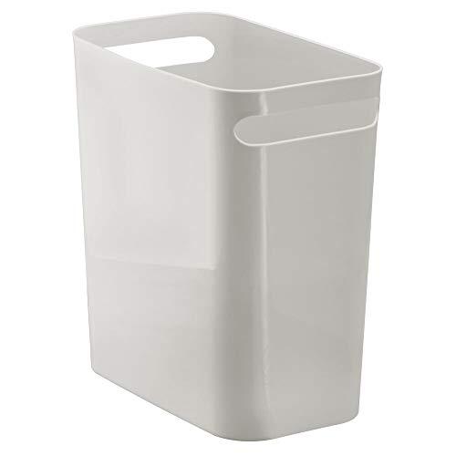 "mDesign Slim Plastic Rectangular Large Trash Can Wastebasket, Garbage Container with Handles for Bathroom, Kitchen, Home Office, Dorm, Kids Room - 12"" High, Shatter-Resistant - Light Gray"