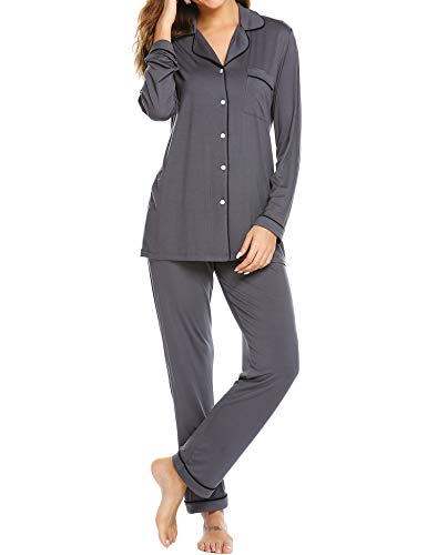 2 Piece Long Pjs - Ekouaer Womens Long Sleeve Shirt and Long Pajama Pants Sleepwear Set (Dark Grey,M)