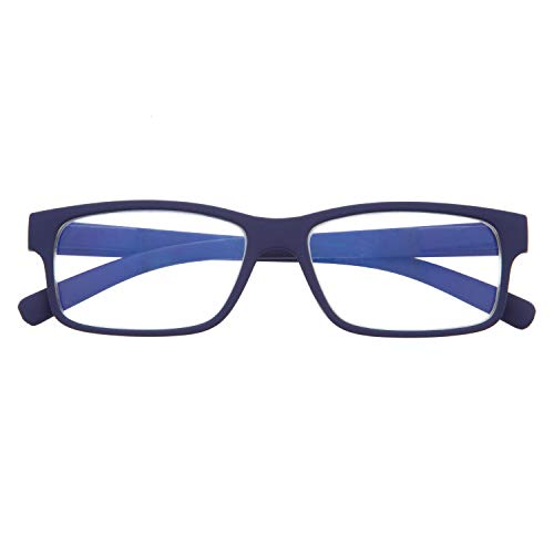 Gafas con Filtro Anti Luz Azul para Ordenador. Gafas de Presbicia o Lectura para Hombre y Mujer. Tacto Goma, Patillas Flexibles y Cristales Anti-reflejantes. Indigo 0.0 – THYSSEN