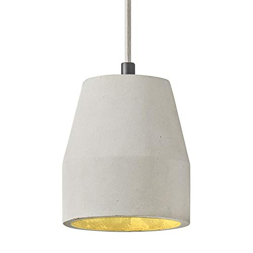 MOTINI 1-Light Concrete Bell Pendant Lighting in Grey Finish, Industrial Ceiling Hanging Light Fixture with Adjustable Cord and Cement Shade for Kitchen Island Dining Room Farmhouse