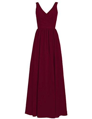 - Long Bridesmaid Dresses Chiffon Evening Formal Gowns Wedding Party Prom Dress V-Neck Sleeveless US 16W Burgundy