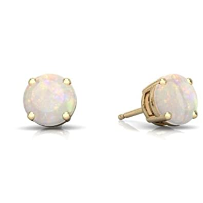 Simulated Opal Round Stud Earrings 14Kt Yellow Gold Sterling Silver