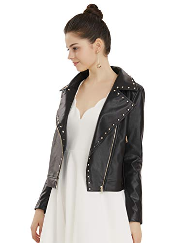 Apperloth Studded Punk Style PU Faux Leather Slim Fit Casual Motorcycle Short Jacket