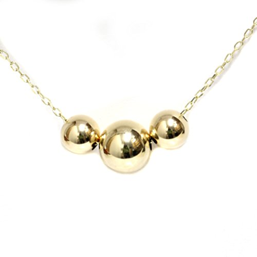 Gold Three 14k Strand (Seven Seas Pearls 14k Yellow White Rose Gold - Three Bead Ball Station Necklace, 16