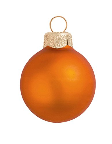 12ct Matte Pumpkin Orange Glass Ball Christmas Ornaments