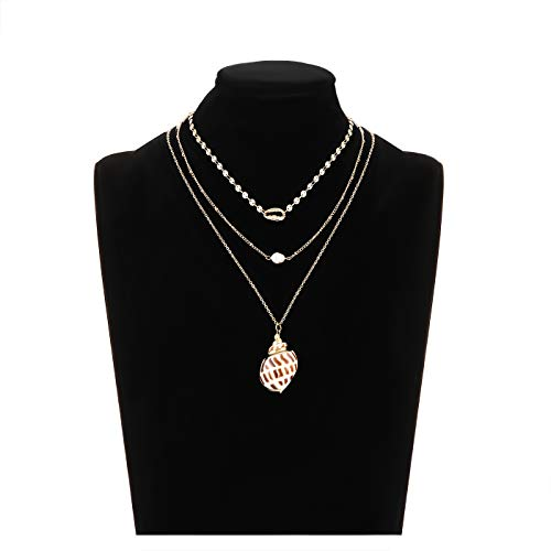 (YINL Layered Necklaces for Women - Multilayer Long Chain Necklace Shell Pearl Pendant Gold Necklace Choker for Girls (Style2))