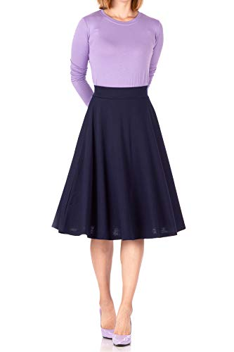 (Beautiful Flowing A-line Flared Swing Midi Skirt (S, Navy))