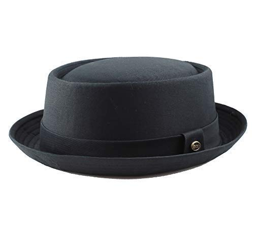 THE HAT DEPOT 1400f2091 100% Cotton Paisley Lining Premium Quality Porkpie Hat (S/M, Black) -