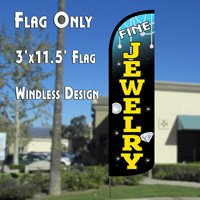 3 Fine Feathers (Fine Jewelry (Blue/Black) Windless Polyknit Feather Flag (3 x 11.5 feet))