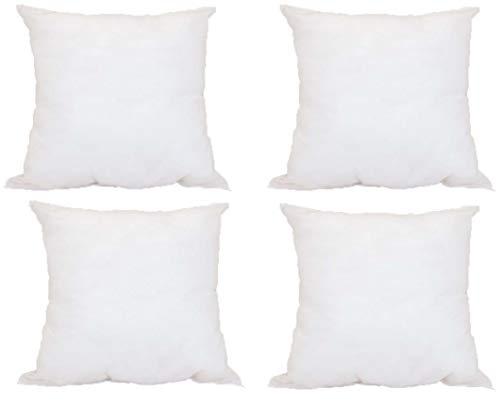(Pillowflex Set of 4 Premium Indoor/Outdoor Polyester Pillow Form Insert Hypoallergenic Stuffer (17 x 17 Inches))