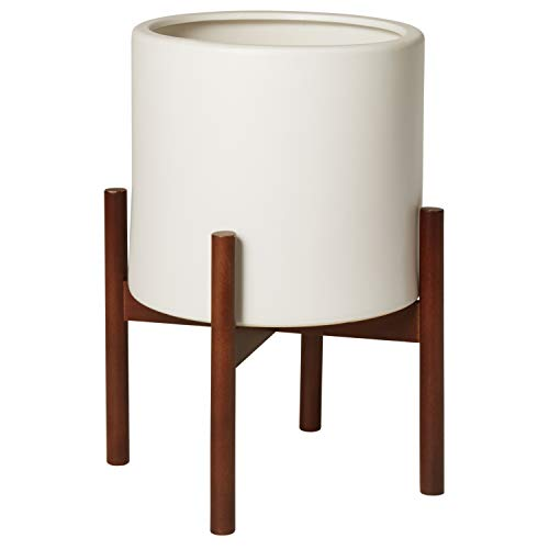 Rivet Surrey Modern Ceramic Planter Pot with Wood Plant Stand - 13.6 Inch, White ()