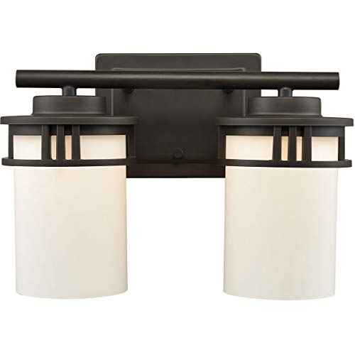 Elk Lighting CN578211 Ravendale 2-Light for The Bath in Oil Rubbed Bronze with Opal White Glass Vanity Wall Sconce