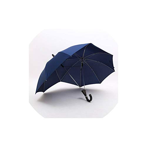 Long Handle Two-Pole Couple Umbrella Men Rain Woman Semi-Automatic Business Gift Umbrella Windproof Sun Umbrellas,Blue