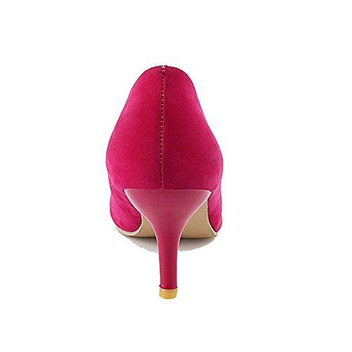 AgooLar Damen Mattglasbirne Spitz Zehe Mittler Absatz Ziehen auf Rein Pumps Schuhe Rosa
