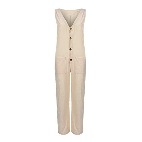 yijiamaoyiyouxia Women Solid Sleeveless Long Jumpsuit Deep V Wide Leg Playsuit Single Breasted Button Rompers Trousers Beige
