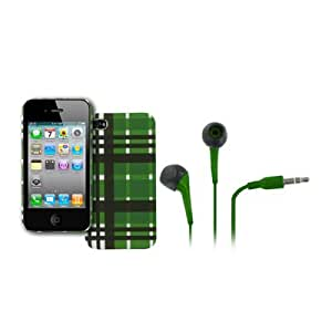 EMPIRE Apple iPhone 4 / 4S Stealth Rubberized Design Hard Case Cover (Green Plaid) + Green 3.5mm Stereo Headphones [EMPIRE Packaging]