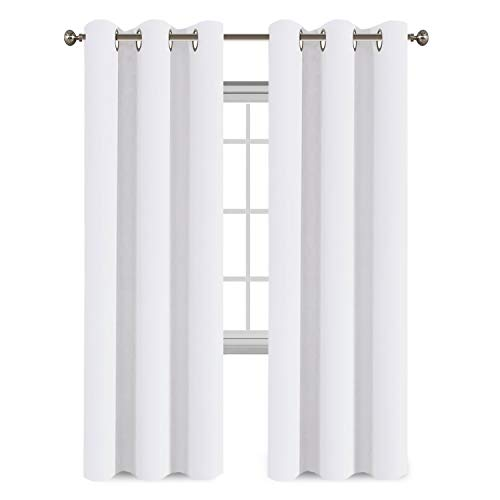 Flamingo P White Curtains 84 inches Long Easy Care Solid Thermal Insulated Grommet Curtains/Drapes (2 Panels, Pure White) (Curtains White Bright)