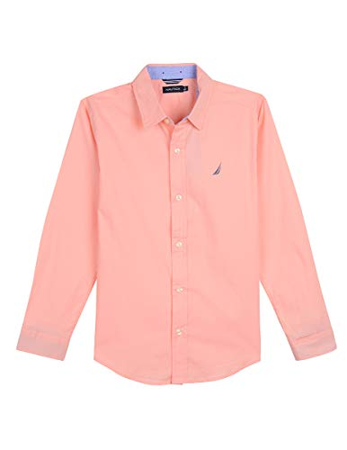 Nautica Big Boys' Long Sleeve Solid Woven Shirt, Tyler Light Pink, Large (14/16)