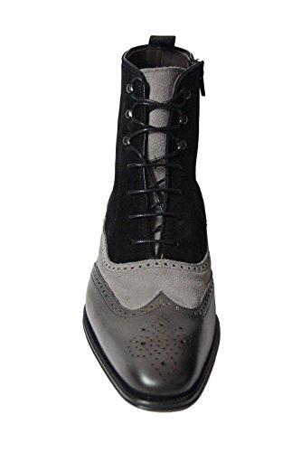 Mezlan Mens Cerezo, Oxford Vleugeltip Laarzen, Grijs / Zwart