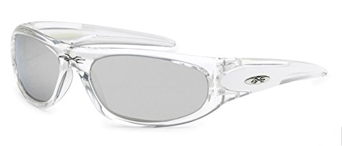 X-loop Kids New Boys Sports Trendy Sleek Sunglasses- Many Colors Available (Oval Wrap Clear - Junior Sports Glasses