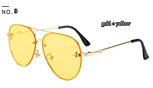 Bee New Pilot Sunglasses Women Fashion Shades Metal Frame Vintage Glasses Men Designer Male Female C3 Gold Yellow