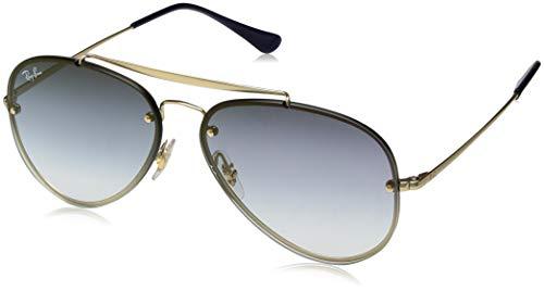 Ray-Ban RB3584N Blaze Aviator Sunglasses, Gold Demigloss/Blue Gradient Mirror, 58 mm