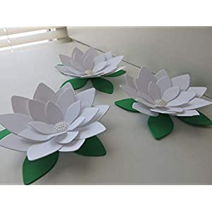 White Lotus Paper Flowers 4 Inch Water Lily Set of 3 Blooms 3D Wedding Table Runner Centerpiece Decor