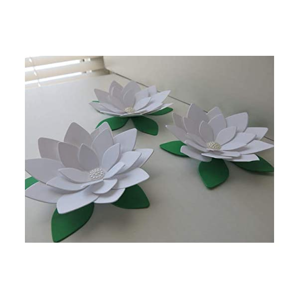 3 White Lotus Flowers, 4 Inch Water Lily Blooms, 3D Table Runner Centerpiece Decor