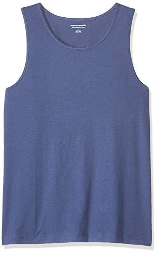 (Amazon Essentials Men's Slim-Fit Solid Tank Top, Blue Heather, Large)