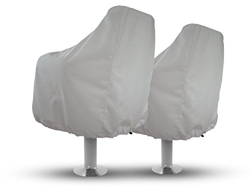 (Boat Seat Covers (Set of 2) Color White, Weather Resistant Marine Canvas, Fits Over the Chair and Armrest, Superior Fabric to Protect Captain's Chair from The)