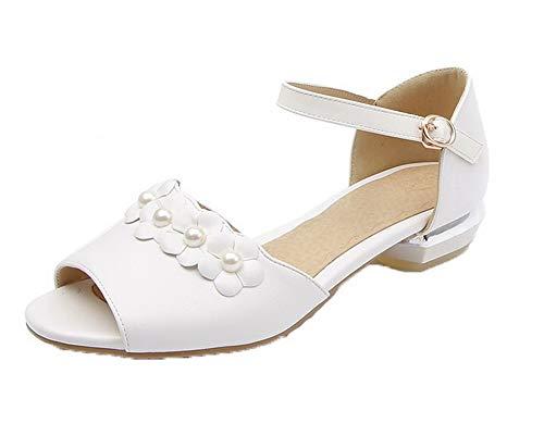 AalarDom Cuir Talon TSFLH006056 Blanc Sandales Ouverture PU à Femme d'orteil Boucle Bas 8qtr8AOw